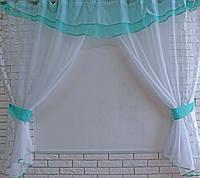 Кухонная занавесь, шторки гардина с подвязками е418