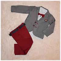 Нарядный костюм на мальчика (пиджак, рубашка, джинсы, бабочка, ремень) ТМ ORYEDA размер 86 98