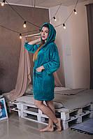 Теплый махровый короткий халат на запах с капюшоном и карманами бирюзовый, 44
