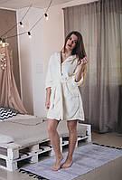 Теплый махровый короткий халат на запах с капюшоном и карманами шампань, 46