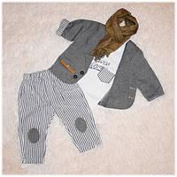 Нарядный костюм на мальчика (пиджак, футболка, джинсы, шарфик) ТМ Hippil baby размер 68 74 80 86