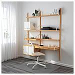 IKEA SVALNAS Пристенный стол, бамбук, белый  (291.844.52), фото 2