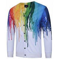 Мужской однобортный пиджак с 3D красочными брызгами