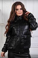 """Стильная демисезонная женская куртка без капюшона с карманами """"Passion"""" черная"""