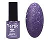 Гель лак Tertio 174, фиолетовый с блестками, 10мл