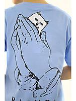 Футболка синяя RipNDip cat in hand лого топ, фото 1