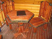 """Деревянный стол и стулья под старину """"Шестиугольник""""."""