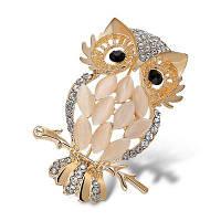 Женская брошь в фомре совы с кристаллами для свадьбы вечеринки дня рождения Белый