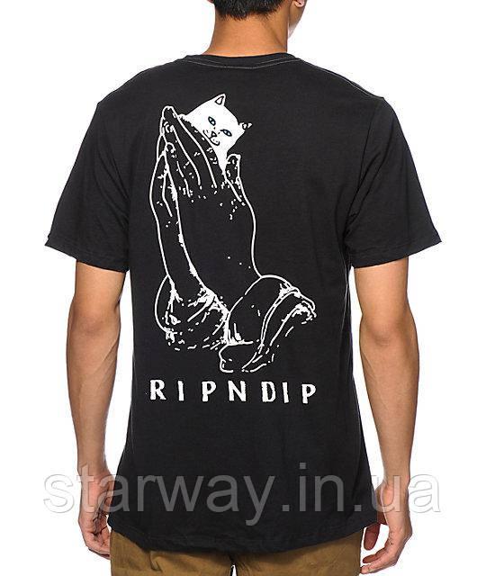 Футболка стильная RipNDip cat in hand logo top