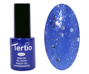 Гель лак Tertio 187, синий с блестками, 10мл