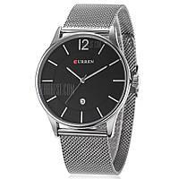 CURREN 8231 Кварцевые часы для мужчин в бизнес стиле серебристый и черный