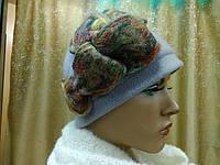 Шляпы RABIONEK из мягкой шерсти без отворота р-р 56-57, цвет  серый с бордовым