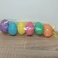 Яйца пасхальные сувенир из пенопласта с блестками 6 см., фото 1