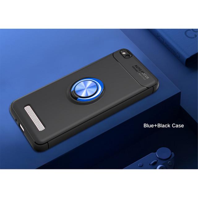 противоударный чехол на Xiaomi redmi 4a c подставкой кольцом синий