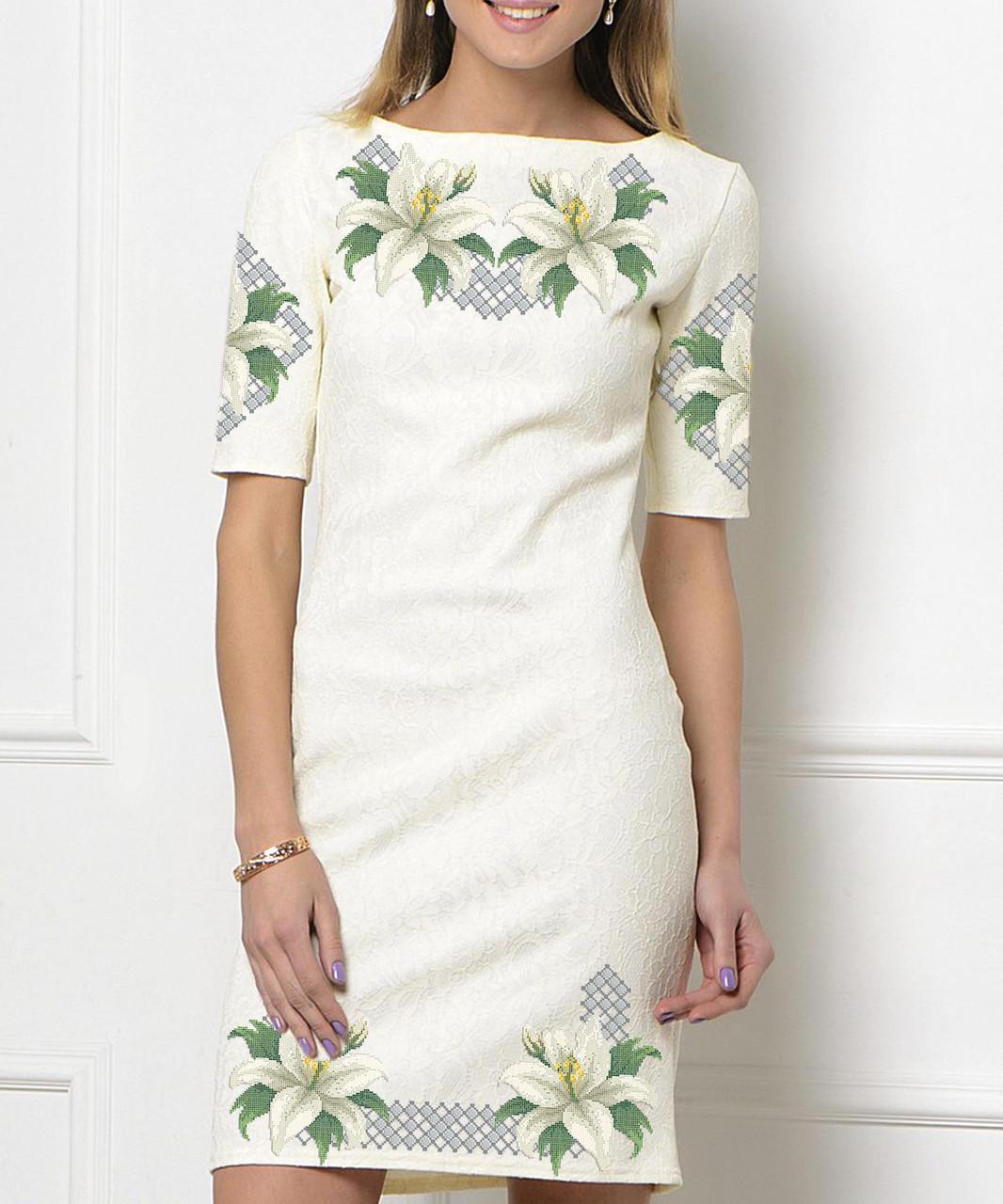 Заготовка жіночого плаття чи сукні для вишивки та вишивання бісером Бисерок  «Білі лілії» (П-92 ГБ) Габардин
