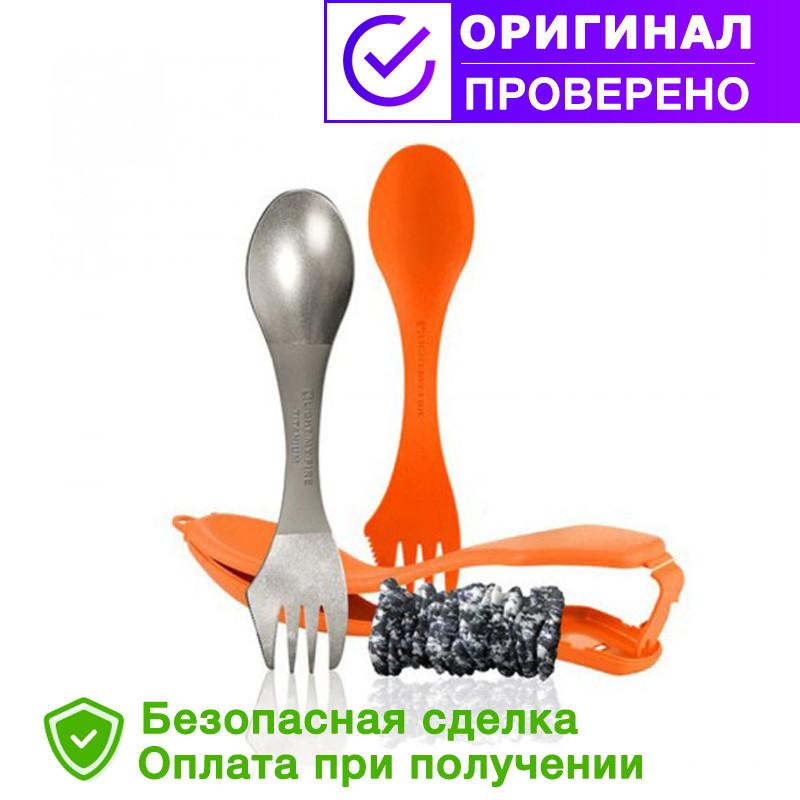 Ложка-вилка в чехле 2 шт.(1пластиковая+1 Titanium) LIGHT MY FIRE Spork The Ultimate Orange 55702340