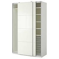 "ИКЕА ""ПАКС"", Гардероб, белый, Белое стекло Färvik, 150x66x236 см"