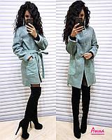 Полушерстяное женское прямое пальто с поясом tez640261