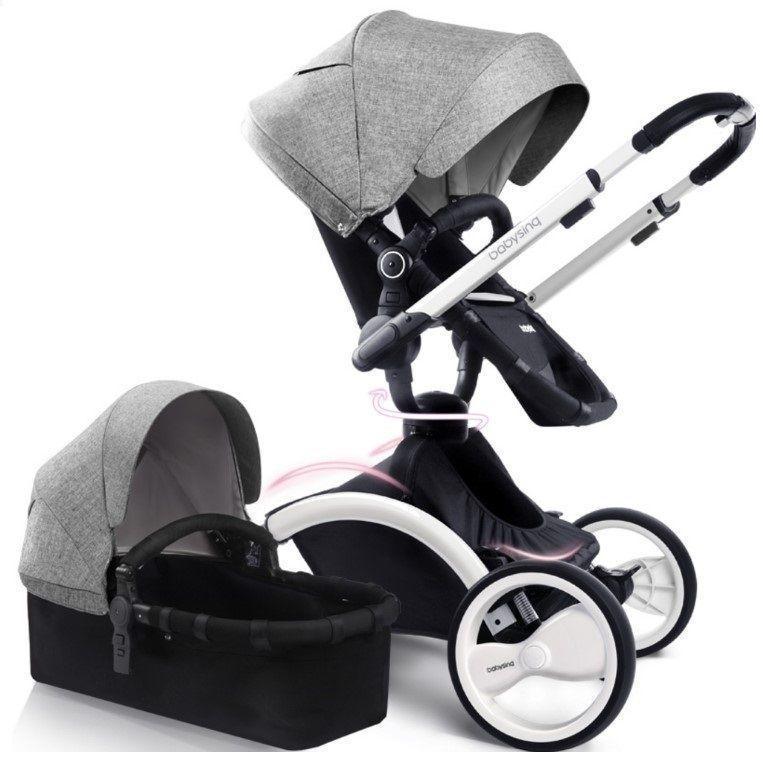 Коляска Babysing W-Go Grey white 2в1