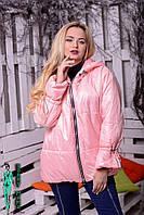 Демисезонная женская объемная куртка на молнии в расцветках tez100179