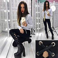 Женские модные джинсы стрейч со шнуровкой tez6612189