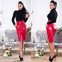 Кожаная женская юбка-карандаш с карманами tez561161