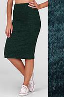 """Стильная женская миди юбка-карандаш из ангоры на высокой талии """"Rich"""" темно-зеленая"""