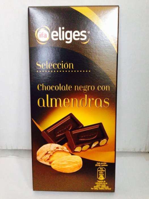 Вкусный испанский черный шоколад с ЦЕЛЫМ миндалем 200 гр, какао – 55%