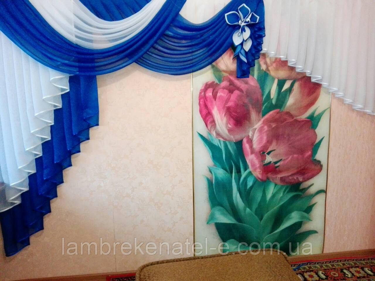 Ламбрекен для кухни синий