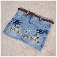 Джинсовая юбка детская в пайетках размер 110 116 122 128
