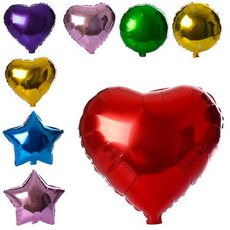 Шарики надувные фольгированные MK 1343 (1000шт) 2вида(шар44-44см,сердце.звезда),микс цветов