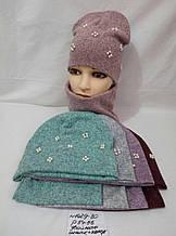 Детская шапка+хомут для девочки Двойная р. 54-56