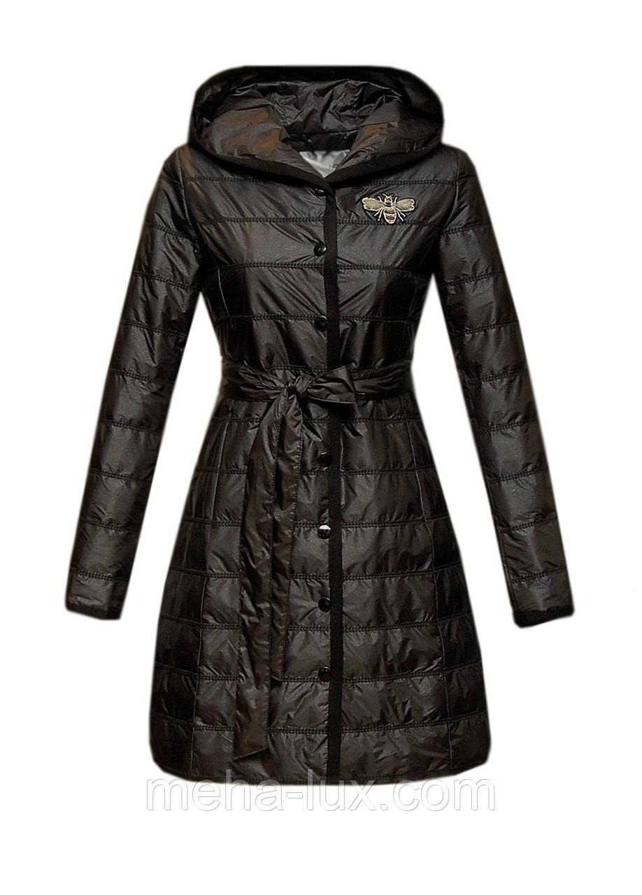 Пальто Zilanliya демисезонное из плащевки в блестках приталенное с поясом черное