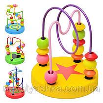 Деревянная игрушка Лабиринт деревянный прутики и бусины проволока с бусинками, MD 0489, 003669