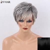 Siv волос короткие стороны взрыва слоистых естественных прямых человеческих волос парик черный как смоль #01