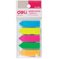 Блоки бумажные самоклеющиеся Deli 9064Е микс 12x44мм 20штх5цв стрелка пласт