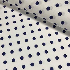 Хлопковая ткань польская горох синий на белом 10 мм (1см) №139