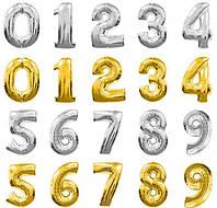 Шар фольгированный цифры от 0 до 9 ЗОЛОТО и СЕРЕБРО 75см