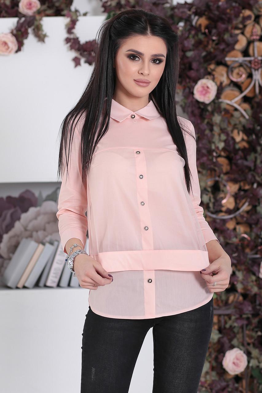 Комбинированная Рубашка Берта пудра