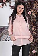 Комбинированная Рубашка Берта пудра, фото 1
