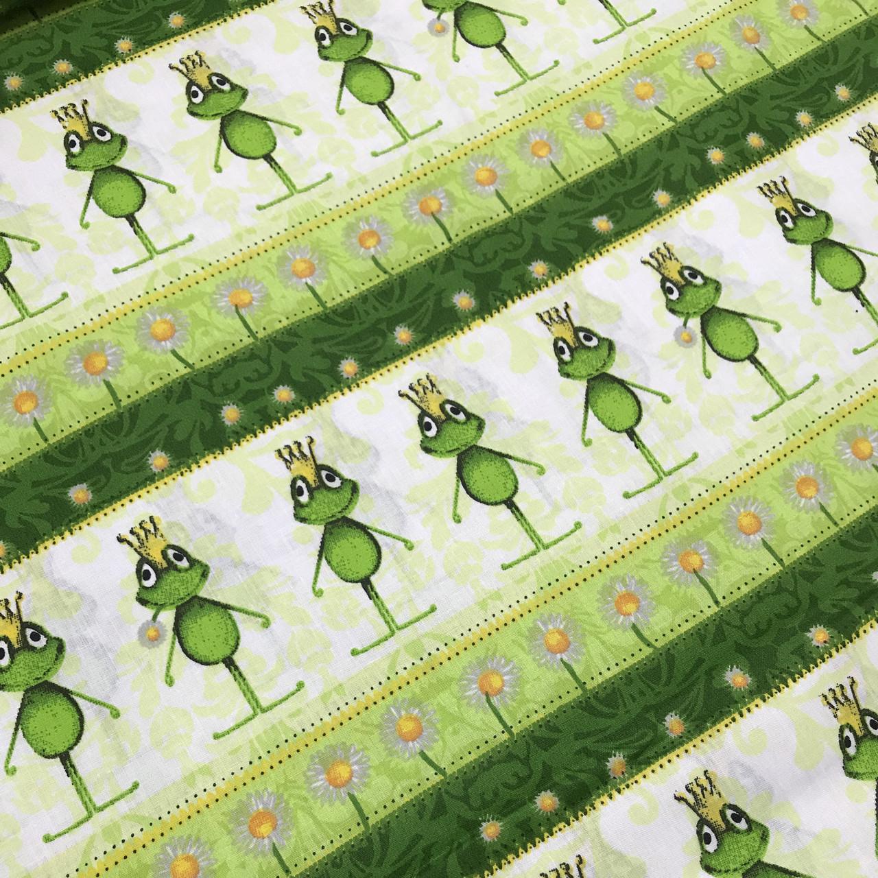 Хлопковая ткань польская зеленые лягушки с коронами №136