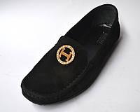 """Женская обувь больших размеров мокасины замшевые Ornella BS Black Vel by Rosso Avangard цвет черный """"Грейс"""""""