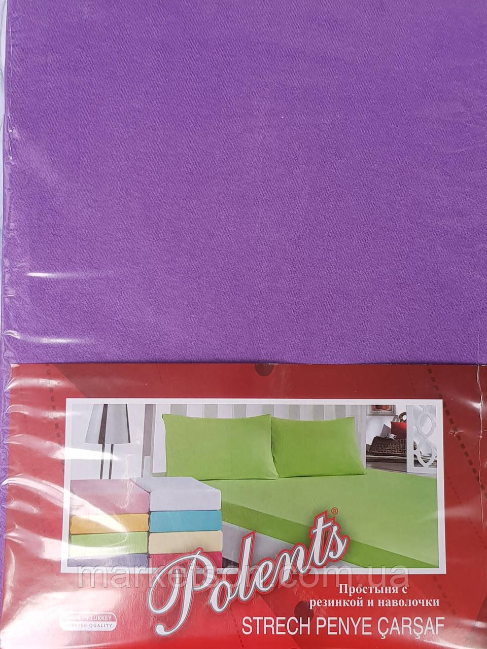 Трикотажные простыни на резинке с наволочками 70*70.Фиолетовый.