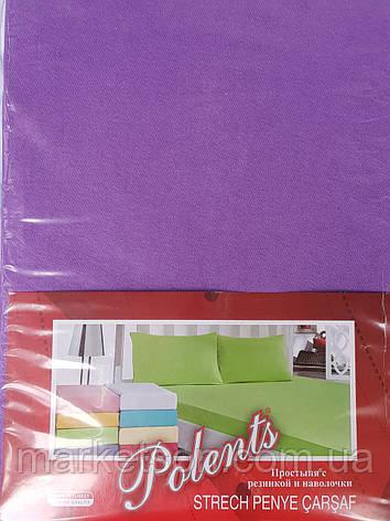 Трикотажные простыни на резинке с наволочками 70*70.Фиолетовый., фото 2