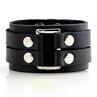 Мужской кожаный браслет в стиле Панк-рок Scappa B-210 чёрный