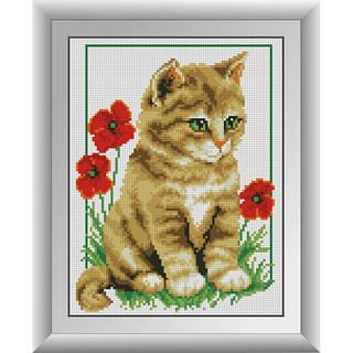"""Алмазная вышивка размер изображения 30х23 набор """"Котенок в маках"""""""