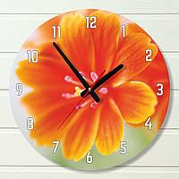 """Настенные часы - """"Оранжевые лепестки"""" (на пластике)"""