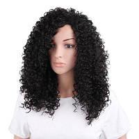 Adiors длинный боковой Bangheadhead афро кудрявый синтетический парик Чёрный