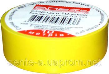 Изолента e.tape.pro.20.yellow из самозатухающего ПВХ, желтая (20м)