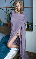 Полушерстяной вязаный плед SoundSleep Carmel фиолетовый 140х180 см